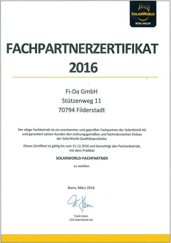 Fi-Da - Solarworld Fachpartnerzertifikat 2016