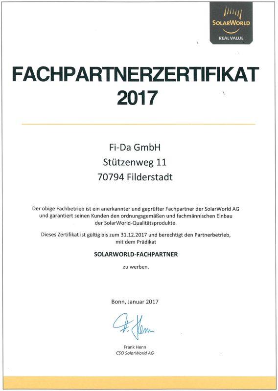 Fi-Da - Solarworld Fachpartnerzertifikat 2017