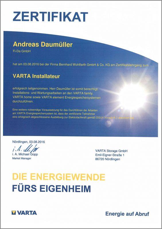 Zertifikat: VARTA Installateur